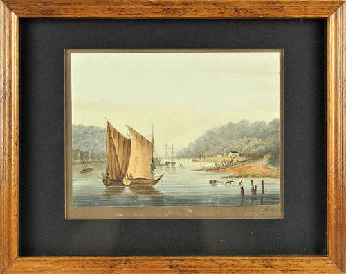Marine Watercolor 1828 Signed MCB
