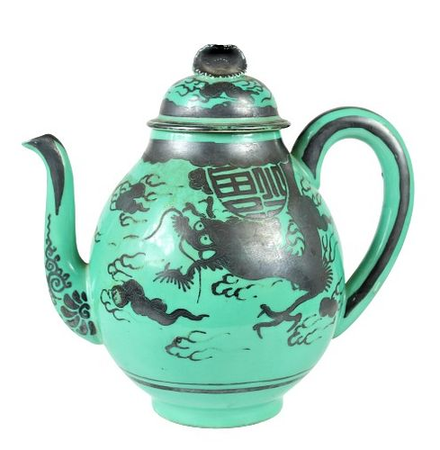 Chinese Green and Black Porcelain Teapot, Signed