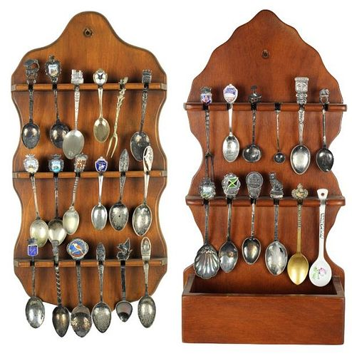Souvenir Spoons Group of 30 on 2 Matching Pcs.