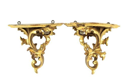 Pair of Gilt Carved Wall Corbels