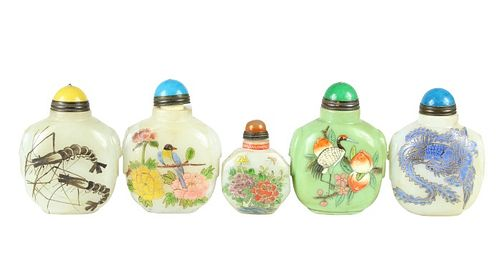 (5) Chinese Stone Snuff Bottles w Scenes