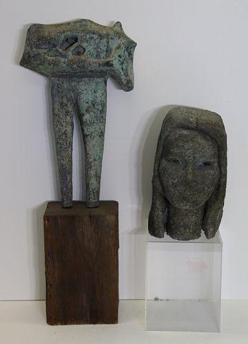 2 Patinated Metal Sculptures.