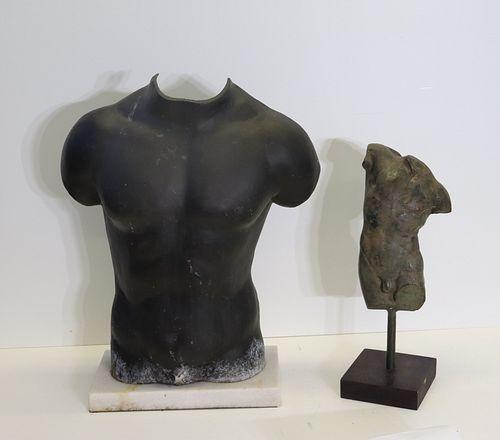 2 Patinated Metal Torso Sculptures.