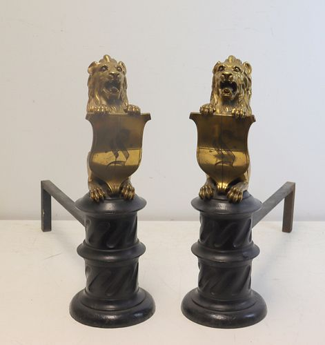 Pr Of Large Gilt Metal & Marble Lion Form Andiron
