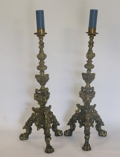 Pair Of Vintage Ornate Bronze Candle Stands.