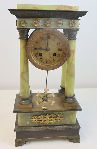 Antique Bronze Mounted Onyx Column Form Clock