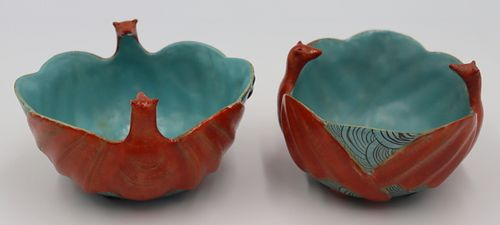 Pair of 19th C Famille Rose Bat Form Bowls.