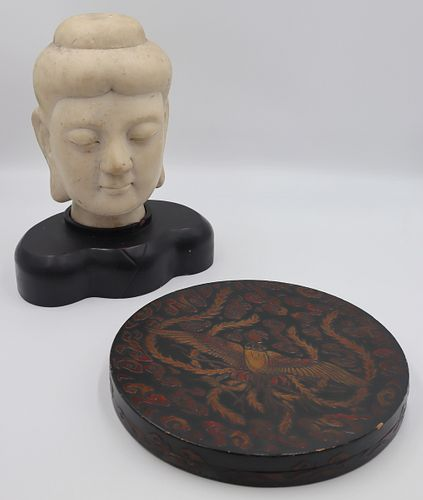 Carved Marble Buddha Head and a Lacquered Box.