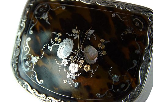 Silver and Tortoise Powder Box