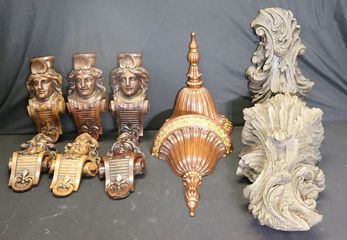 4 Pairs Of Antique Carved Wood Elements