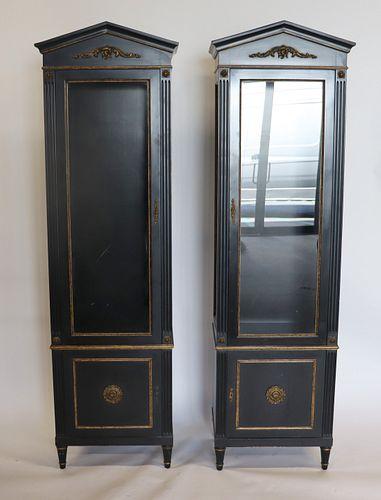 Pair Of Antique Ebonised & Gilt Decorated Vitrines