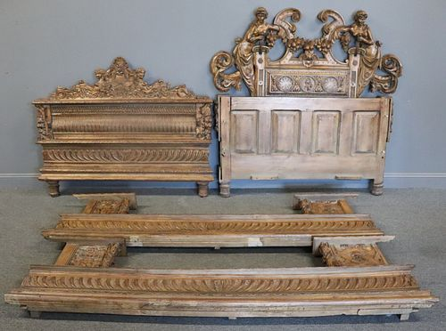 Antique Highly Carved Italian Bed With Nude