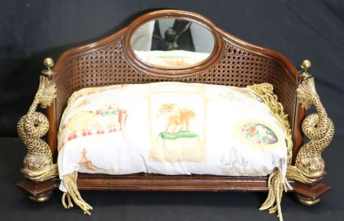 Maitland Smith Carved And Gilt Decorated Dog Bed.