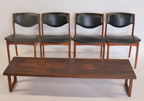 4 Danish Midcentury Chairs Together with A