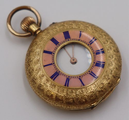 JEWELRY. 18kt Gold and Guilloche Enamel Pocket
