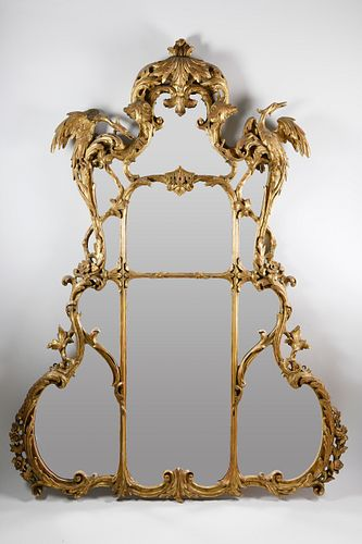 Chinese Chippendale Style Gesso and Giltwood Overmantle Mirror, 19th Century