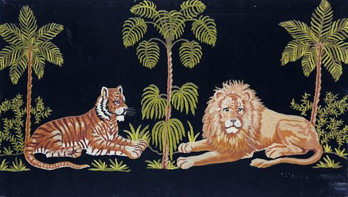 Scenic Lion and Tiger Wool Prickwork Embroidery on Velvet, late 19th Century