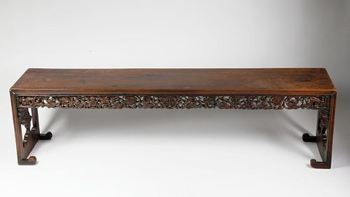 Chinese Carved Teak Wood Bench, circa 1880