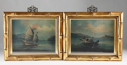 """Pair of Chinese Export Oil on Paper Board """"River Scene Paintings of Junk and Houseboat"""""""