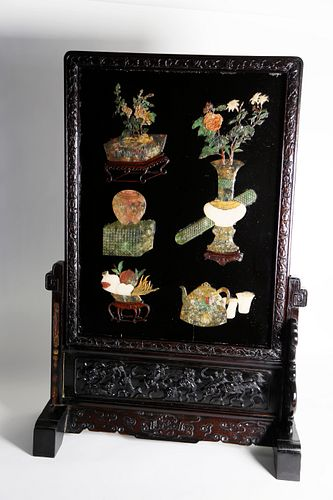 Chinese Carved Hardstone Table Screen, mid 19th Century