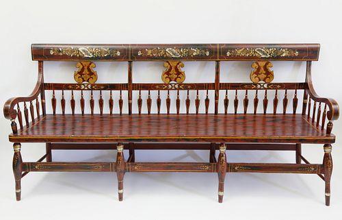 American Decorated Triple-Back Settee, circa 1840