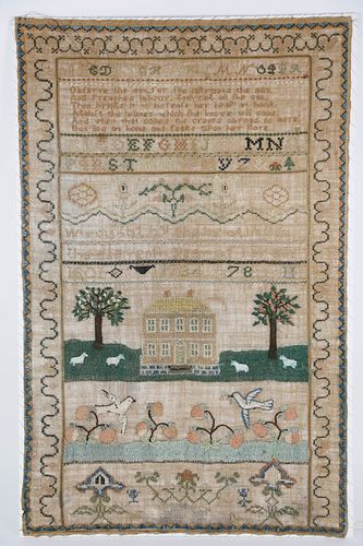 """Portsmouth, Newport, Rhode Island Sampler """"Wrought by Phebe Almy in the eleventh year of her age 1801"""""""