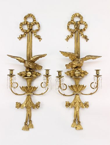 Very Fine Pair of American Carved Pine and Lemon Gilt Two-Light Eagle Sconces, circa 1820