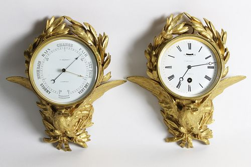 Rare Pair of Thomas Bassnett Gilt Bronze Clock and Holosteric Barometer, mid 19th Century