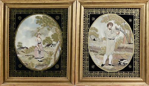 """Pair of English Regency Silk and Silver Thread Embroideries on Silk """"The Wheat Harvest"""", circa 1820"""