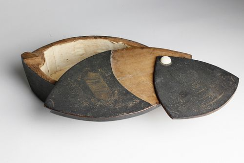 Rare Large Size Wood and Whale Ivory Puzzle Box, early 19th Century
