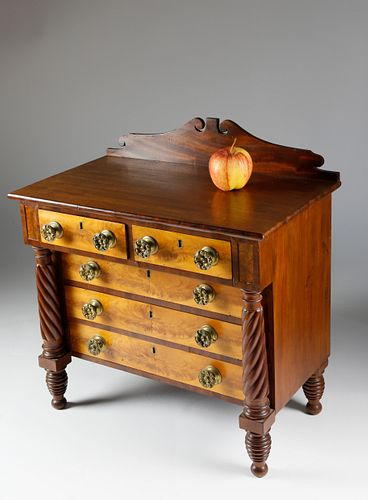 American Flame Birch Salesman's Sample Chest of Drawers, circa 1825