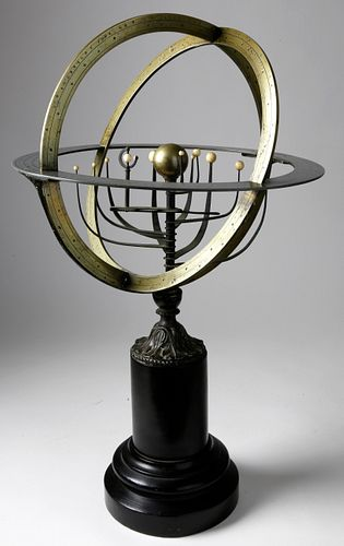 French Brass and Ivory Armillary Sphere, 19th Century