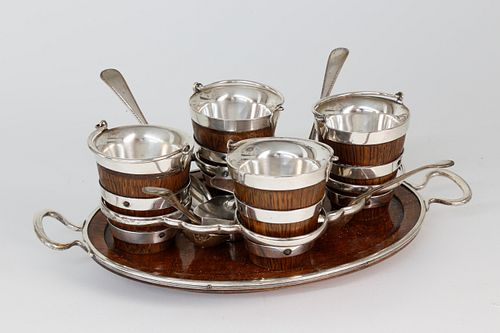 English Silver Plated and Oak Egg Caddy and Matching Tray, 19th Century