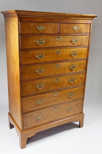 Rhode Island Tiger Maple Tall Chest of Drawers on Frame, 18th Century