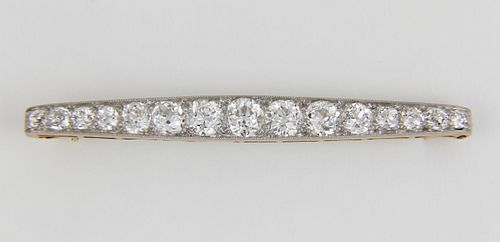Lady's Antique Platinum Over 18k Yellow Gold Diamond Brooch