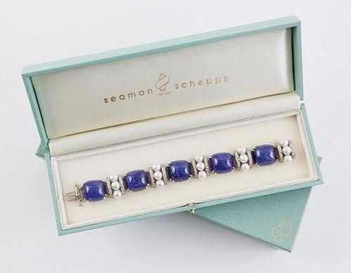 Seaman Schepps Tanzanite, Cultured Pearl and Diamond Bracelet Mounted in 18k White Gold