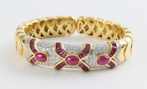18k Yellow Gold, Ruby and Diamond Cuff Bracelet