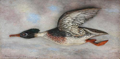 James Walter Folger Carved Half-Body Shell Drake in Flight, circa 1911