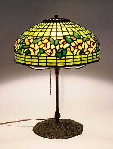 Tiffany Studios Banded Dogwood Table Lamp, circa 1910