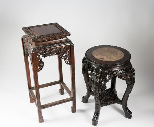Two Chinese Carved Teakwood Stands, 19th Century