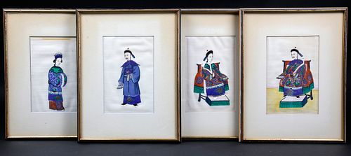 Set of Four Chinese Export Watercolors on Rice Paper, circa 1820-1840