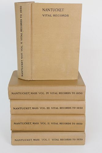 """Complete 5 Volume Set """"Vital Records of Nantucket Massachusetts"""" to the Year 1850"""