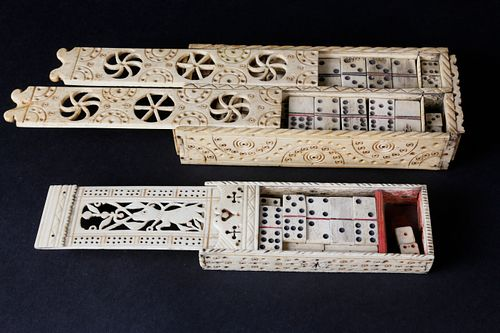 Two Prisoner-Of-War Carved Bone Game Boxes, circa 1810