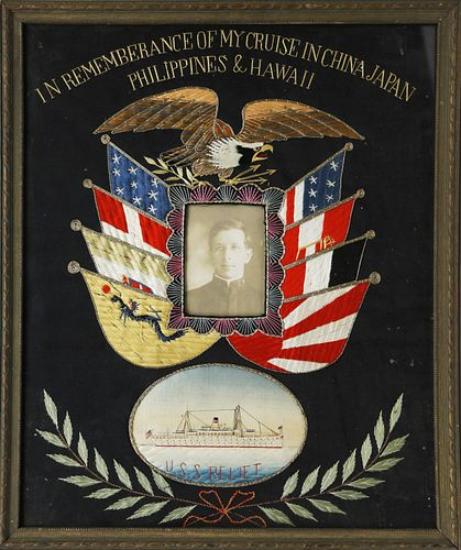 Silk Embroidered Pictorial Souvenir of an American Sailor's Cruise Aboard the U.S.S. Relief