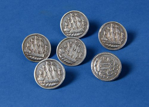 Set of Six Dutch Silver Buttons, 18th Century