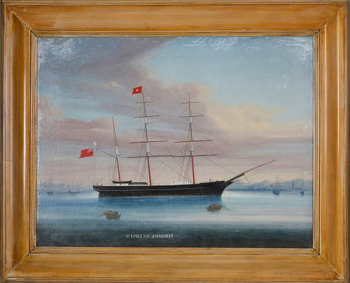 "Chinese Export Oil on Canvas ""Xiphias in Port, Master John Morris"" (1857-1862)"