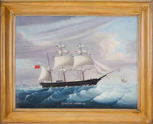 "Chinese Export Oil on Canvas ""Portrait of the Xiphias on the Open Seas, Master John Morris"" (1857-1862)"