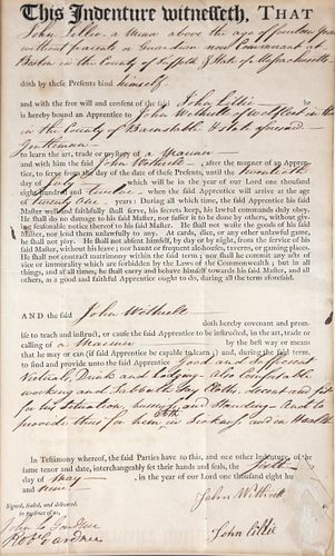 1809 Massachusetts Indenture Document