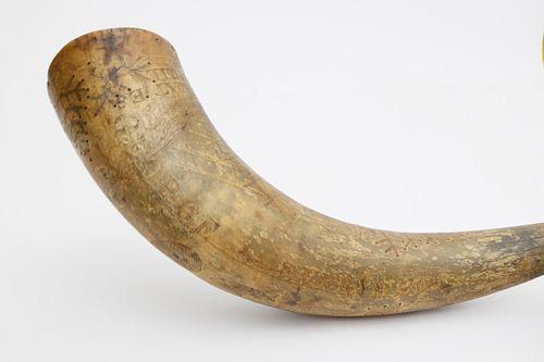 American Engraved Powder Horn, circa 1850