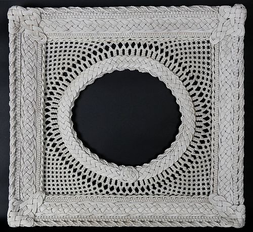Finely Crafted Sailor Macramé Frame, 20th Century